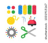 color set of objects for sewing ... | Shutterstock .eps vector #1031915167