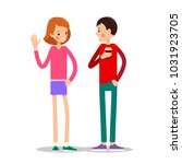 girl greets a guy drinking... | Shutterstock . vector #1031923705
