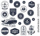 set of vintage retro nautical...   Shutterstock . vector #103192541