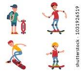 young skateboarder active... | Shutterstock .eps vector #1031926519