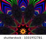psychedelic neon glitch mandala ... | Shutterstock . vector #1031952781