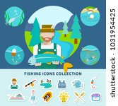 fishing flat composition with... | Shutterstock . vector #1031954425