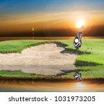 golf equipment   golf bag ... | Shutterstock . vector #1031973205