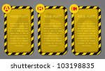 ABC warning / danger square labels - stock vector