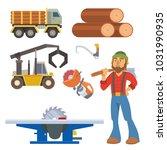 sawmill woodcutter character... | Shutterstock .eps vector #1031990935
