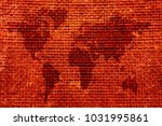 world map burlap background... | Shutterstock . vector #1031995861