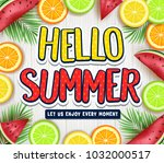 fruity hello summer poster with ... | Shutterstock .eps vector #1032000517