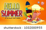 hello summer greeting text in... | Shutterstock .eps vector #1032000955