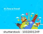 it s time to travel.trip to... | Shutterstock .eps vector #1032001249