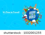 around the world. it s time to... | Shutterstock .eps vector #1032001255