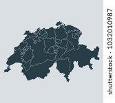 switzerland map on gray... | Shutterstock .eps vector #1032010987