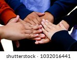 guy holding hand together in... | Shutterstock . vector #1032016441