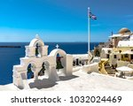 flag and bells of greece | Shutterstock . vector #1032024469