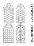 gothic windows. vintage frames. ... | Shutterstock .eps vector #1032026164