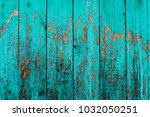 Old Boards With Cracked Cyan...