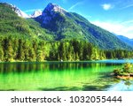 mountain view  green lake | Shutterstock . vector #1032055444