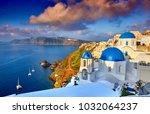 fira town on santorini island ... | Shutterstock . vector #1032064237