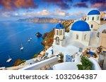 fira town on santorini island ... | Shutterstock . vector #1032064387