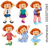 happy girl in six costumes... | Shutterstock .eps vector #1032071065