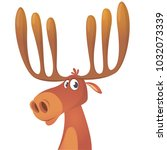 funny cartoon moose. vector...   Shutterstock .eps vector #1032073339
