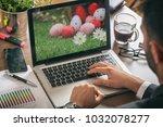 easter eggs on a computer...   Shutterstock . vector #1032078277