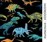 seamless  dino pattern  print... | Shutterstock .eps vector #1032082054
