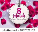 women's day greeting card 8... | Shutterstock .eps vector #1032091159