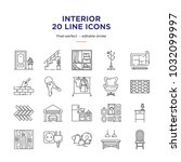 interior design line icons | Shutterstock .eps vector #1032099997