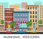 panorama of a city with trees ...   Shutterstock .eps vector #1032113401