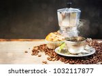 coffee cup and beans on old... | Shutterstock . vector #1032117877