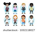 cartoon collection of kids... | Shutterstock .eps vector #1032118027