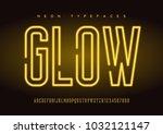 glowing vector linear neon... | Shutterstock .eps vector #1032121147