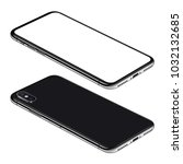 black smartphone perspective... | Shutterstock . vector #1032132685