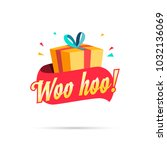woo hoo shopping gift box | Shutterstock .eps vector #1032136069