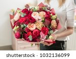 bouquet of highly red coloured .... | Shutterstock . vector #1032136099