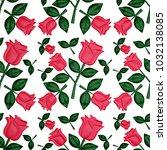 3d seamless floral pattern  red ... | Shutterstock . vector #1032138085