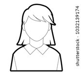 outline avatar woman with... | Shutterstock .eps vector #1032139174