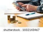 man planning family finance and ... | Shutterstock . vector #1032143467