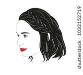 portrait of asian  hair braided.   Shutterstock .eps vector #1032152719