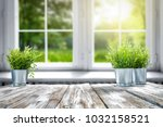 white wooden table of free... | Shutterstock . vector #1032158521