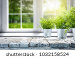 white wooden table of free... | Shutterstock . vector #1032158524