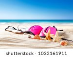 shell decoration on sand and... | Shutterstock . vector #1032161911