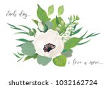 vector floral card design with... | Shutterstock .eps vector #1032162724
