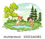 two children play with a boat... | Shutterstock .eps vector #1032166381