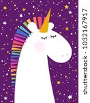 greeting card with unicorn | Shutterstock .eps vector #1032167917