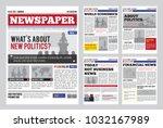 newspaper design template with... | Shutterstock . vector #1032167989