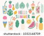 collection of summer...   Shutterstock .eps vector #1032168709