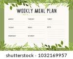 weekly meal plan. printable. | Shutterstock .eps vector #1032169957