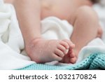 newborn baby feet with dry skin ... | Shutterstock . vector #1032170824