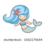 pretty mermaid with starfish in ... | Shutterstock .eps vector #1032175654